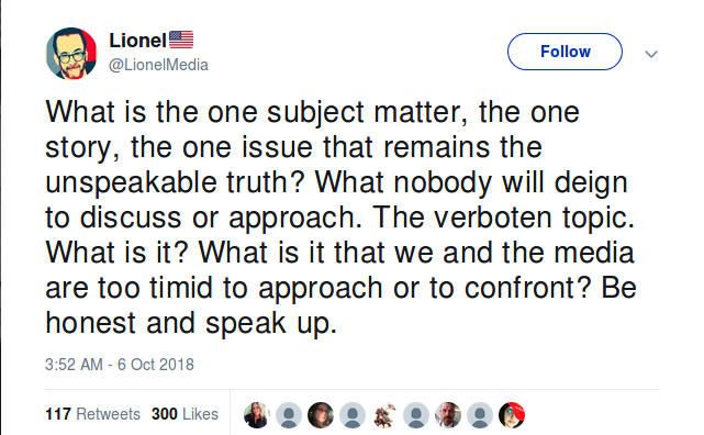 Lionel Tweet, one issue that remains unspeakable. 6 Oct 2018.png